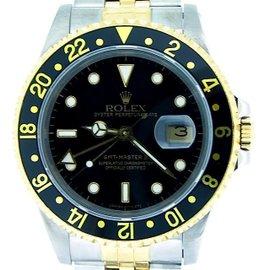Rolex GMT-Master II 16713 2Tone 18K Yellow Gold Stainless Steel Jubilee Black Mens Watch