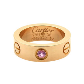 Cartier 18K Rose Gold Love Pink Sapphire Band Ring Size: 3.75