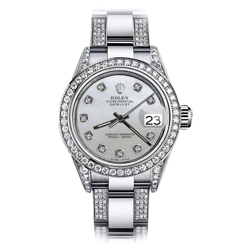 """Image of """"Rolex Oyster Perpetual Datejust Stainless Steel Diamonds Pearl Dial"""""""