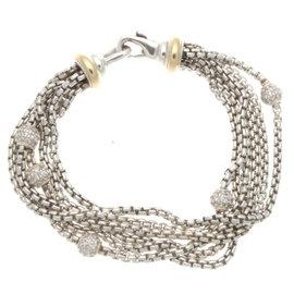 David Yurman 18K Yellow Gold & Sterling Silver 6 Row Diamond Ball Bracelet