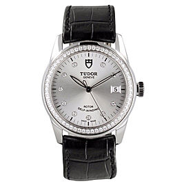 Tudor Glamour 55020 Diamond Dial & Bezel on Strap Mens Watch