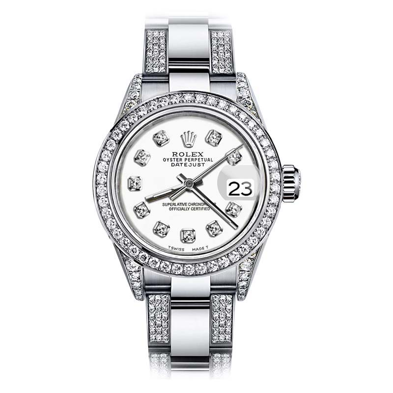 "Image of ""Rolex Oyster Perpetual Datejust Stainless Steel White Diamonds Dial"""