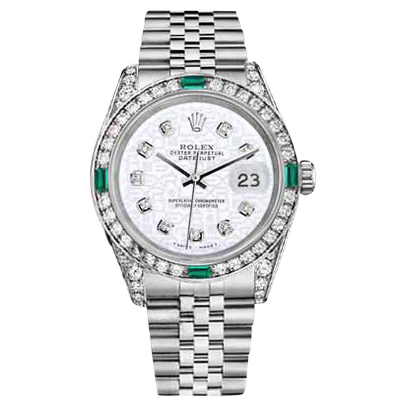 "Image of ""Rolex Datejust Stainless Steel White Color Emerald Jubilee Diamond"""