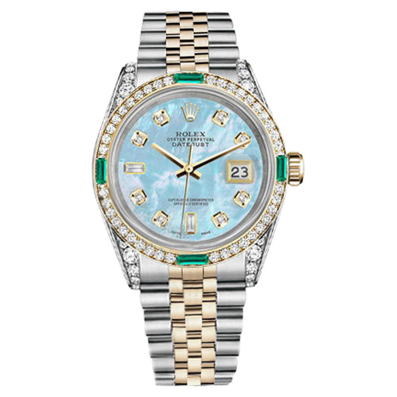 "Image of ""Rolex Datejust Steel-Gold Baby Blue MOP 8+2 Diamond Emerald Womens"""