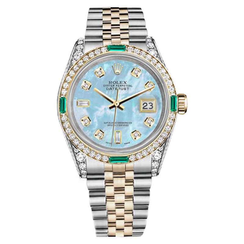"Image of ""Rolex Datejust Steel-Gold Baby Blue MOP 8+2 Diamond Emerald Watch 36mm"""
