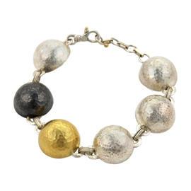 Gurhan 24K Yellow Gold Black & White Sterlnig Silver Dome Half Dome Link Bracelet