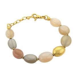 Gurhan 24K Yellow Gold Nugget Moonstone Oval Beaded Bracelet