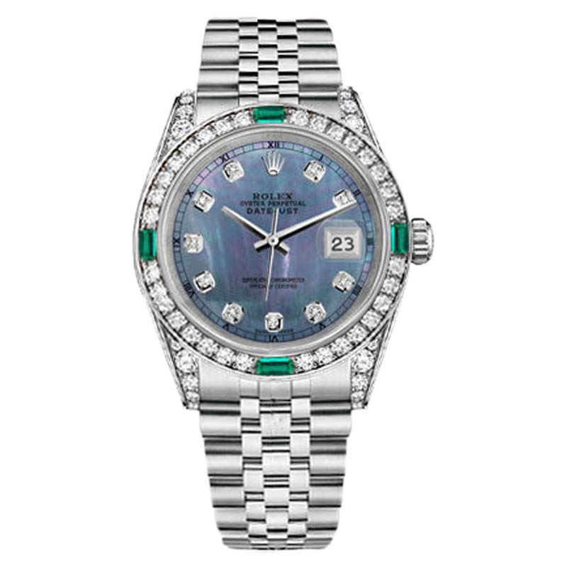 "Image of ""Rolex Datejust Stainless Steel Tahitian MOP Emerald Diamond 26mm Watch"""