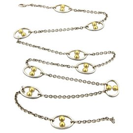 Gurhan Domino 24K Yellow Gold & 925 Silver Oval Hoops Chain Link Long Necklace