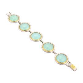 Gurhan 24K Yellow Gold & Sterling Silver Rose Cut Aqua Chalcedony Bracelet