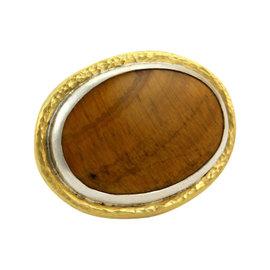 Gurhan Galapagos Tiger's Eye 24K Yellow Gold & Sterling Silver Large Oval Ring