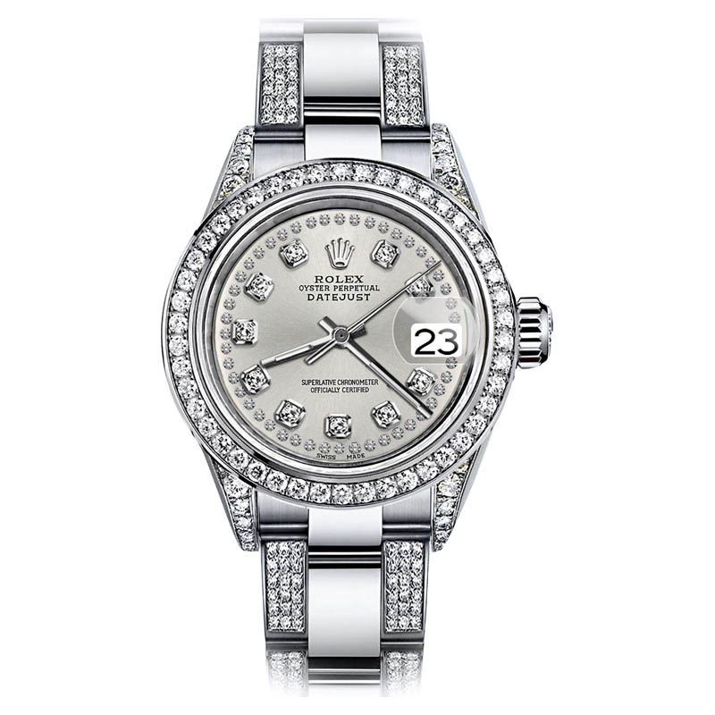 """Image of """"Rolex Oyster Perpetual Datejust Stainless Steel and Diamond Silver"""""""