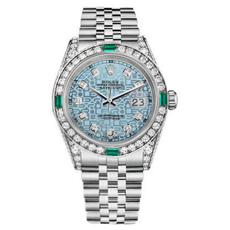 "Image of ""Rolex Datejust Steel Jubilee Ice Blue Emerald Diamond Dial Womens 31mm"""