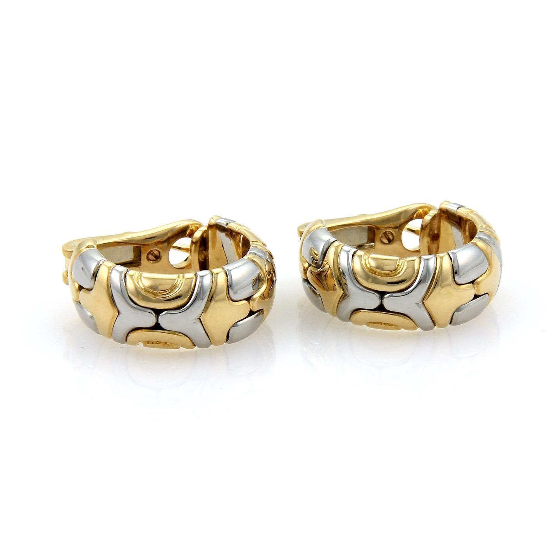 bulgari bvlgari parentesi 18k yellow gold u0026 steel hoop earrings