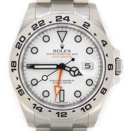 Rolex Explorer II 216570 Stainless Steel Orange Hand Oyster White Mens 42mm Watch