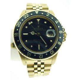 Rolex GMT-Master 16758 18K Yellow Gold Jubilee Band Black Nipple Dial & Bezel Watch
