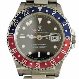 Rolex GMT-Master 16700 Stainless Steel Oyster Black Dial Blue and Red Pepsi Bezel Mens Watch