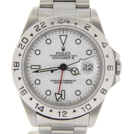 Rolex Explorer II 16570 Stainless Steel Oyster With White Dial Mens Watch