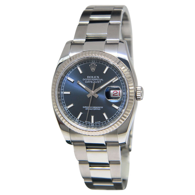 """Image of """"Rolex 116234 Datejust Stainless Steel 18K White Gold Bezel Blue Dial"""""""