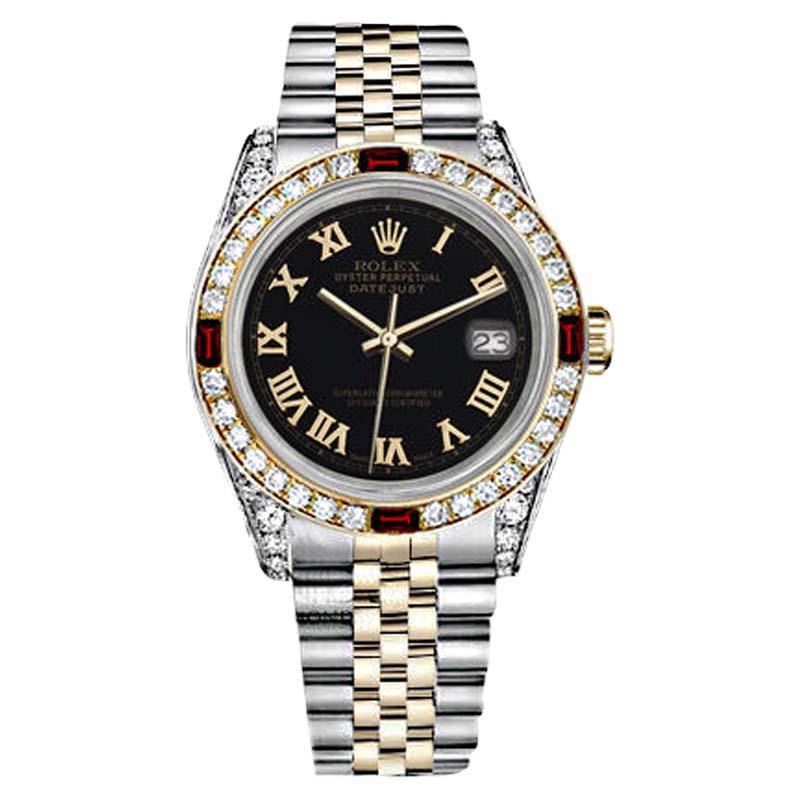 "Image of ""Rolex Two Tone Steel & Gold Black Dial Ruby & Diamond Bezel Womens"""