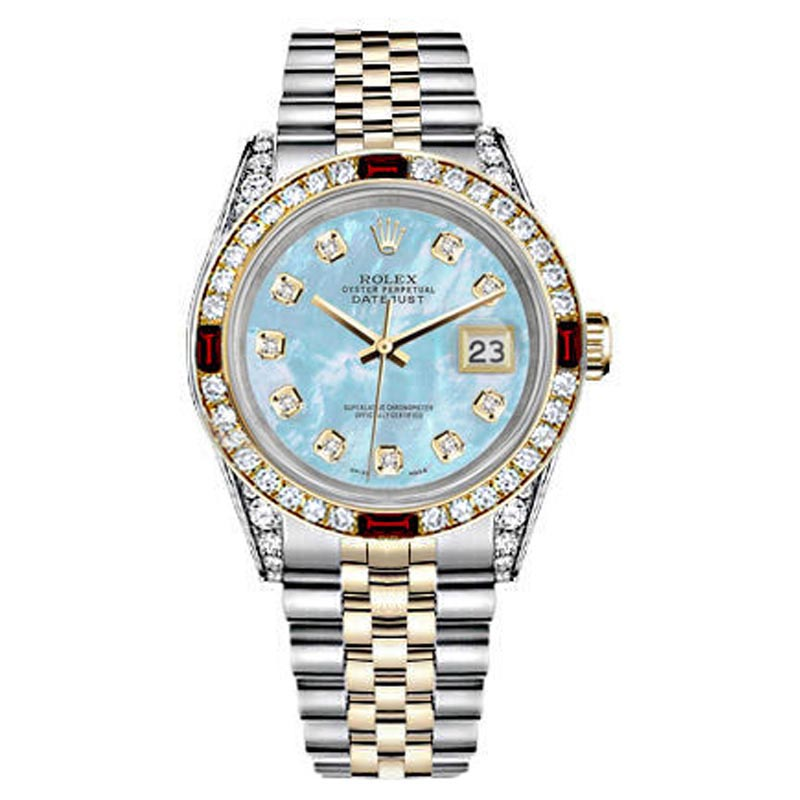 """Image of """"Rolex Datejust 18K Yellow Gold Stainless Steel Baby Blue Mother Of"""""""