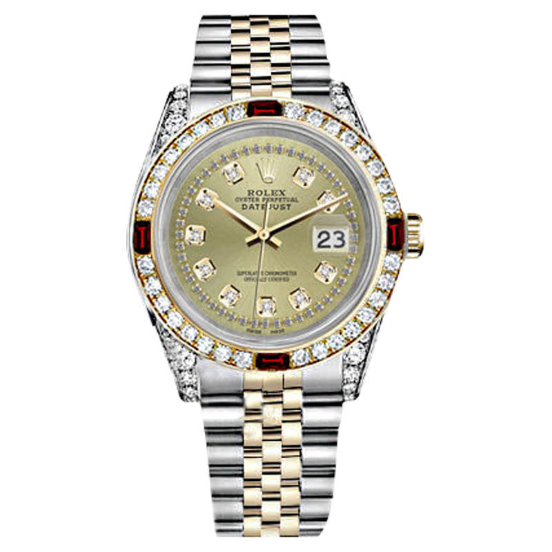 "Image of ""Rolex Datejust Steel-Gold Champagne String Dial Ruby & Diamond Bezel"""