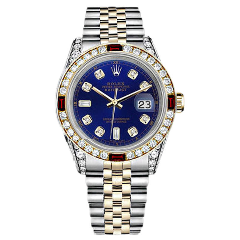 """Image of """"Rolex Datejust Stainless Steel Gold Blue Dial Ruby & Diamond Women's"""""""