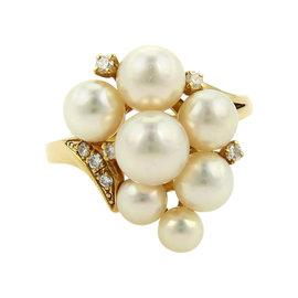 Mikimoto 18K Yellow Gold Akoya Cluster Pearl & Diamond Ring Sz 6