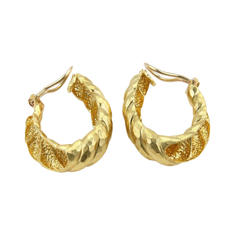 "Image of ""Henry Dunay 18K Yellow Gold Hammered Shell Oval Hoop Clip On Earrings"""