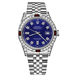Rolex Datejust Blue Color Dial with Ruby & 8+2 Diamond Bezel Accent Womens 26mm Watch