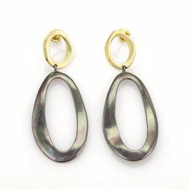 Ippolita Notte 18K Yellow Gold & Black Sterling Silver Wave Dangle Earrings