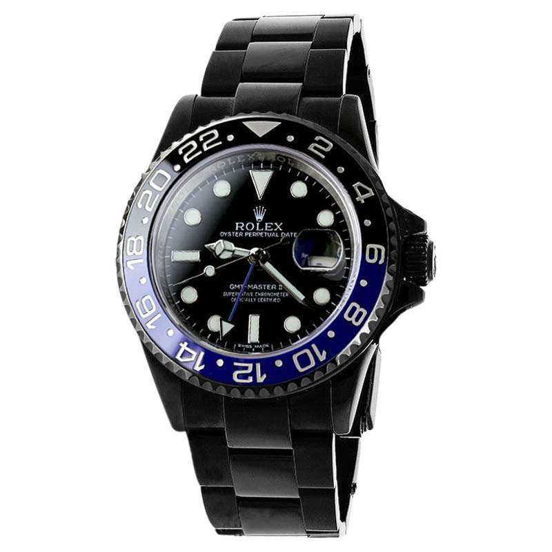 "Image of ""Rolex GMT Master II Batman 116 Stainless Steel Black Dial Mens Watch"""