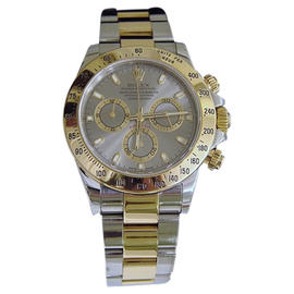 Rolex Daytona 116523 18K Yellow Gold & Stainless Steel Gray Slate Dial Mens Watch