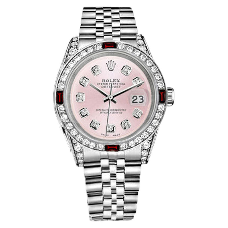 "Image of ""Rolex Datejust Stainless Steel Ruby & Diamonds Metallic Pink Dial 36mm"""