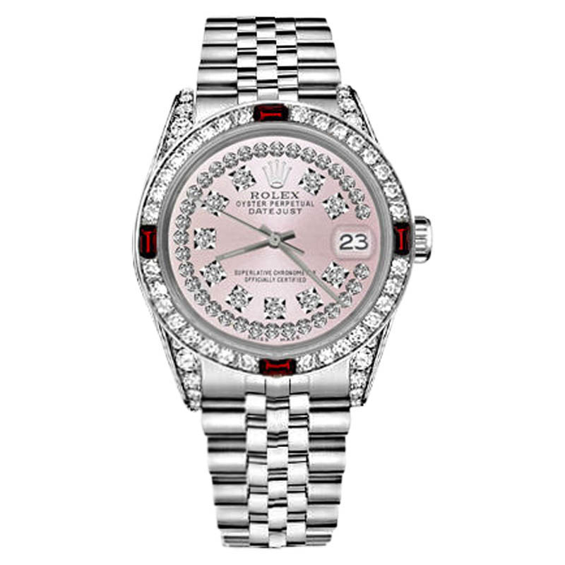 "Image of ""Rolex Datejust Stainless Steel Ruby & Diamonds Pink String Dial 31mm"""