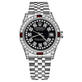Rolex Datejust Glossy Black String Dial Ruby & Diamond Accent 31mm Womens Watch