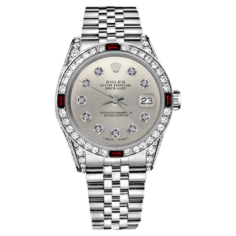 "Image of ""Rolex Datejust Steel Silver Dial with Ruby & Diamond Bezel 36mm Unisex"""
