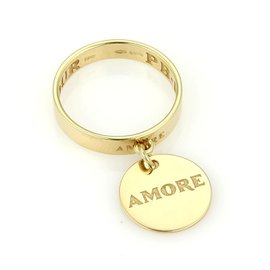 Pasquale Bruni 18K Yellow Gold Amore Charm Ring Sz 7.25