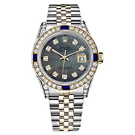 Rolex Datejust Black Mother Of Pearl Dial with Sapphire & Diamond Bezel 36mm Watch