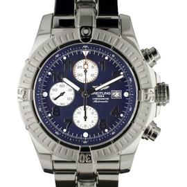 Breitling A13370 Super Avenger Stainless Steel Blue Arabic Dial Chronograph Automatic Womens Watch