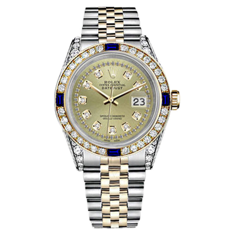 "Image of ""Rolex Datejust 18K Yellow Gold & Stainless Steel Emerald & Diamond"""