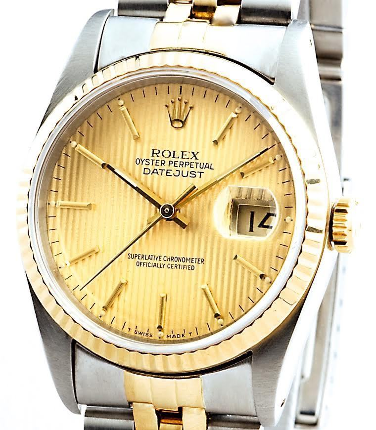 """Image of """"Rolex Datejust Two-Tone 18K Yellow Gold & Stainless Steel With Gold"""""""