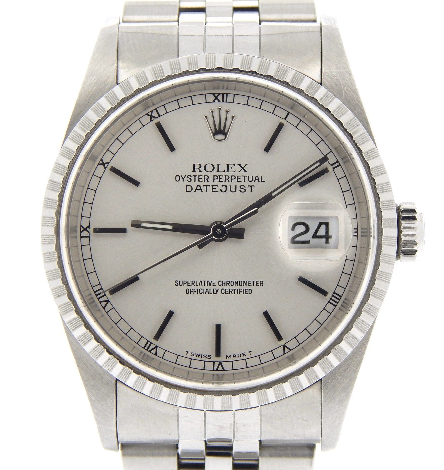 "Image of ""Rolex Datejust 16220 Stainless Steel Oyster Perpetual Jubilee Silver"""