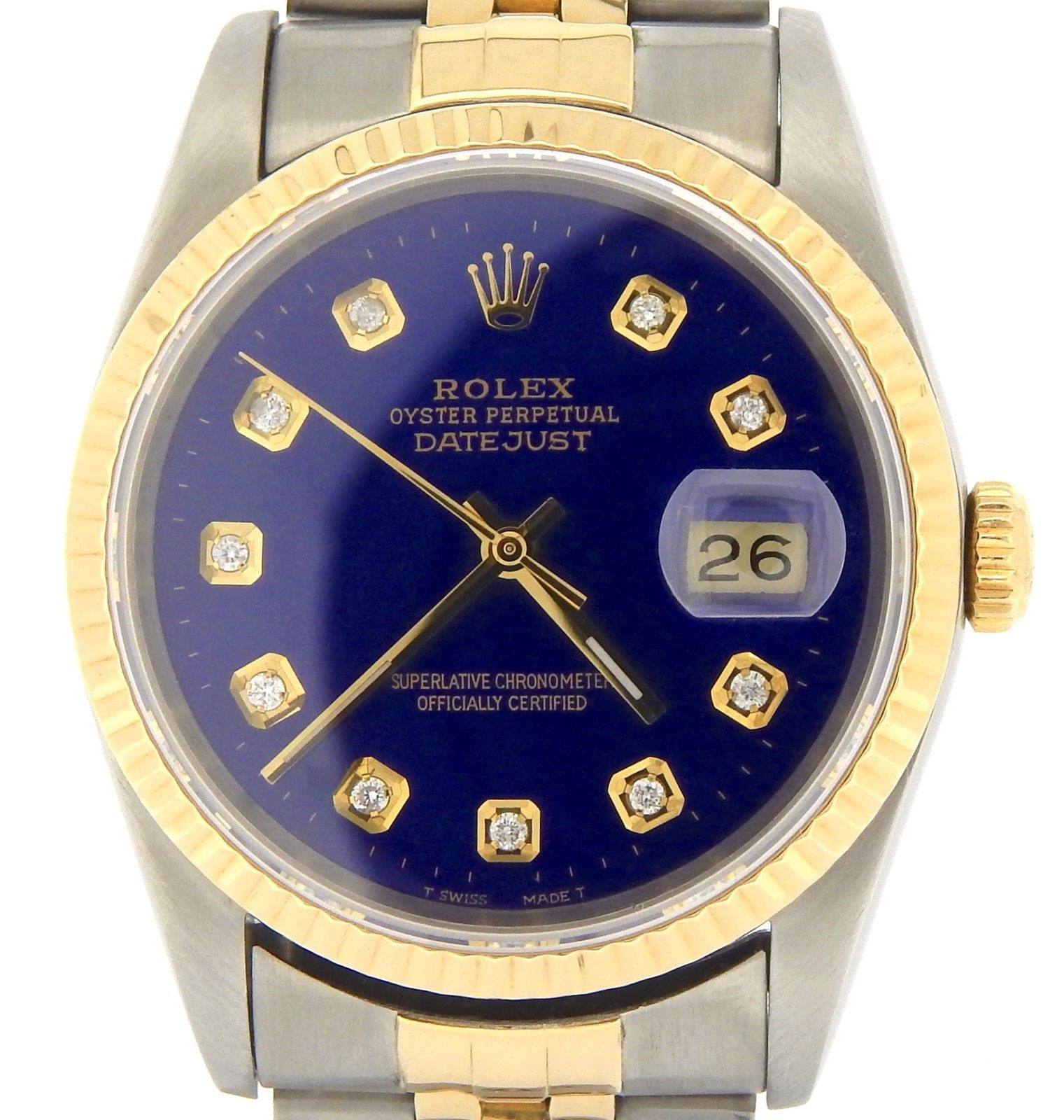 "Image of ""Rolex 16233 Two Tone 18K Gold/Steel Datejust w/Submariner Blue Diamond"""