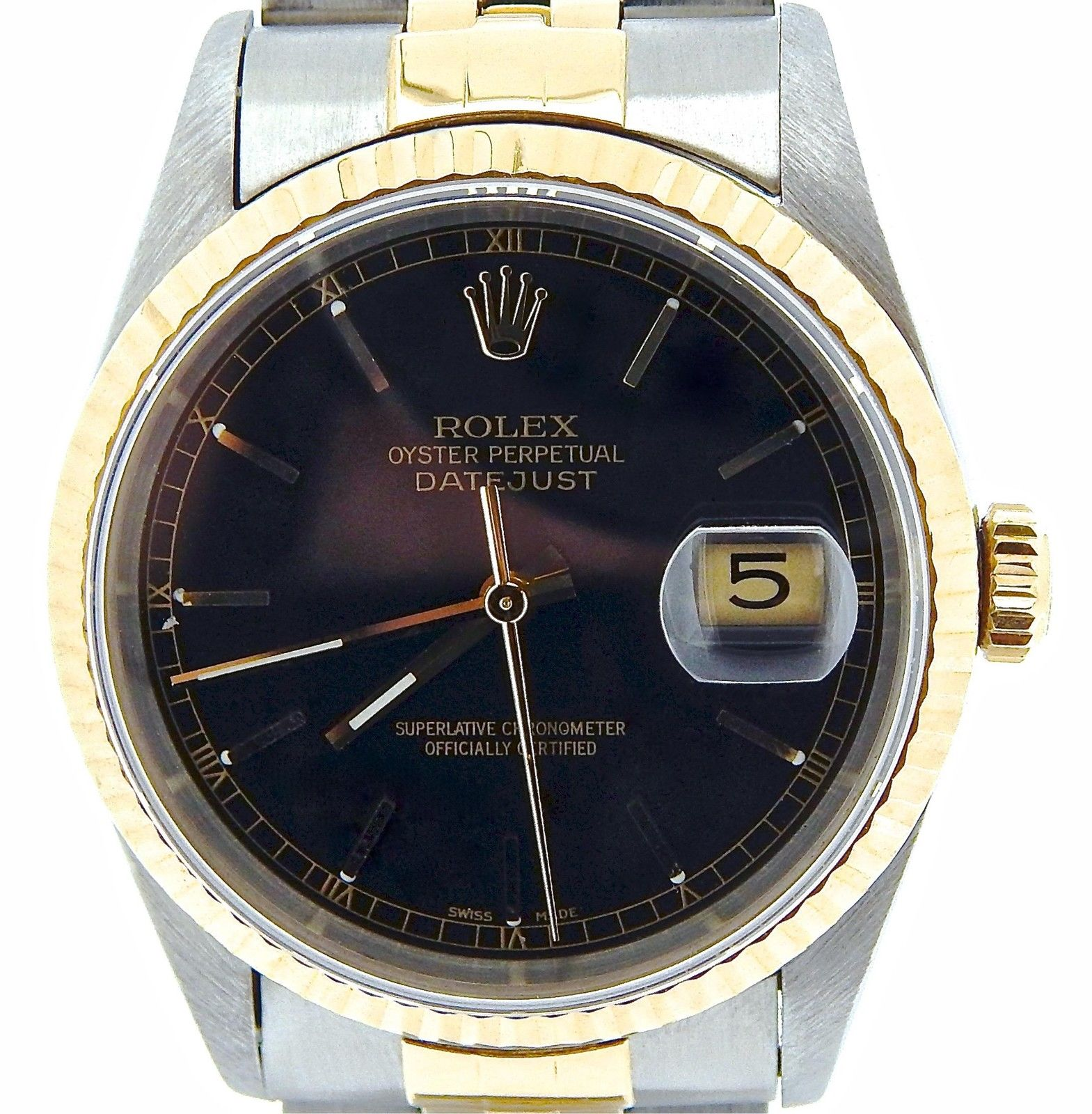 "Image of ""Rolex Datejust 16233 Two-Tone 18K Gold/Stainless Steel Jubilee Black"""