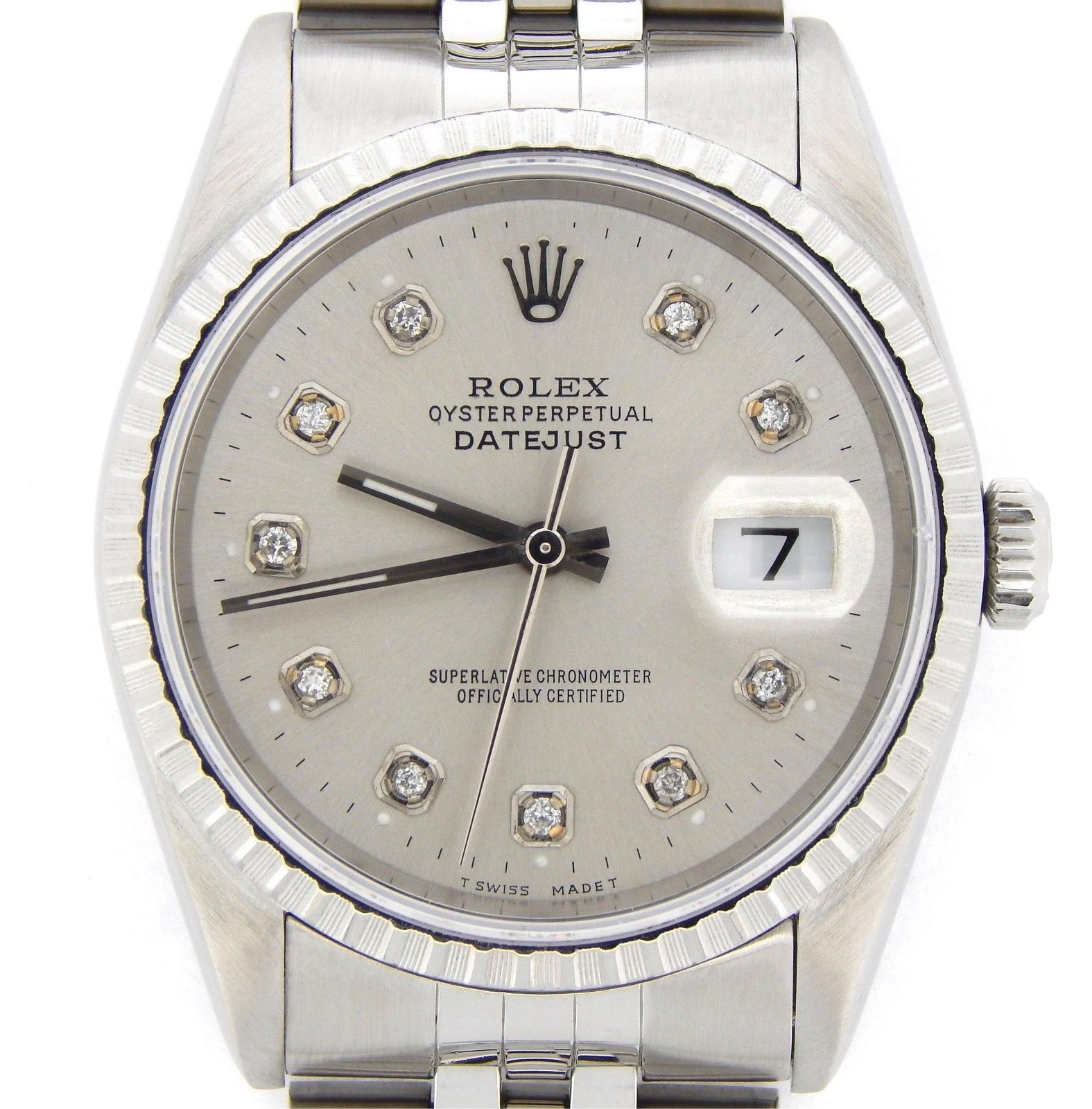 """Image of """"Rolex 16220 Stainless Steel Datejust Jubilee Band Silver Diamond Dial"""""""