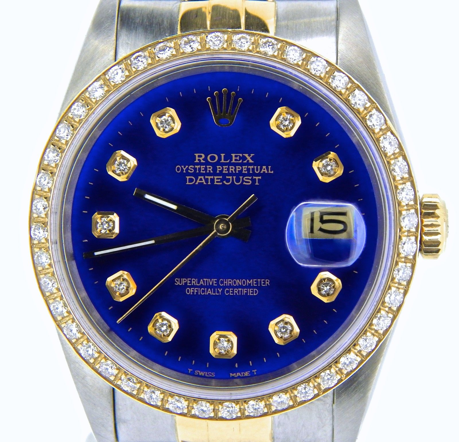 """Image of """"Rolex Datejust 16233 Two Tone 18K Gold/Stainless Steel w/Blue Diamond"""""""