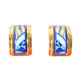 Hermes Gold Tone Enamel Blue Flag Clip On Earrings