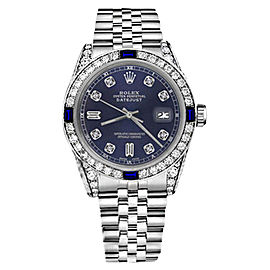 Rolex Datejust Navy Blue Dial with Sapphire & Diamond Accent Unisex 36mm Watch