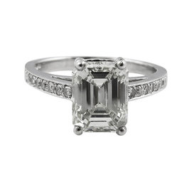 Platinum 3.64ct Diamond Engagement Ring Sz 5.75